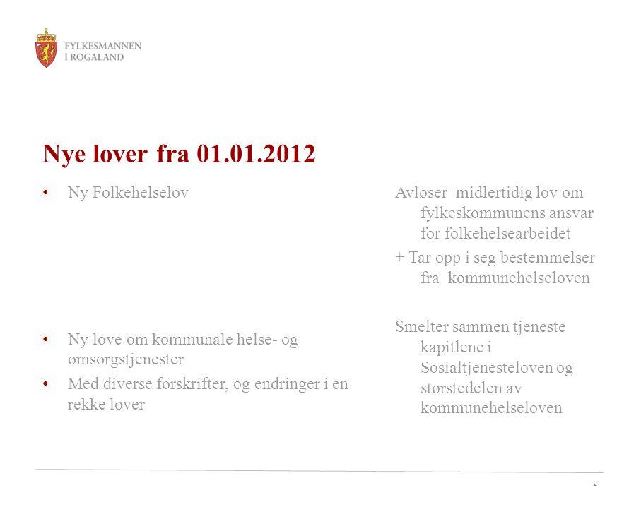 2 Nye lover fra 01.01.2012 • Ny Folkehelselov • Ny love om kommunale helse- og omsorgstjenester • Med diverse forskrifter, og endringer i en rekke lov