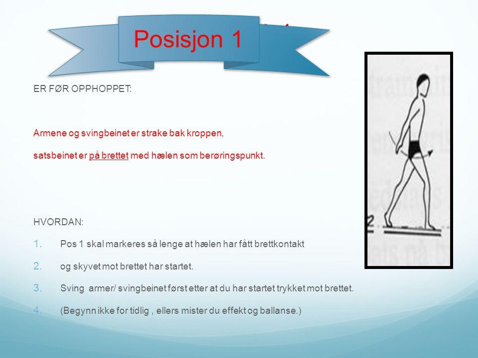 ER FØR OPPHOPPET: Armene og svingbeinet er strake bak kroppen, satsbeinet er på brettet med hælen som berøringspunkt. HVORDAN: 1. Pos 1 skal markeres