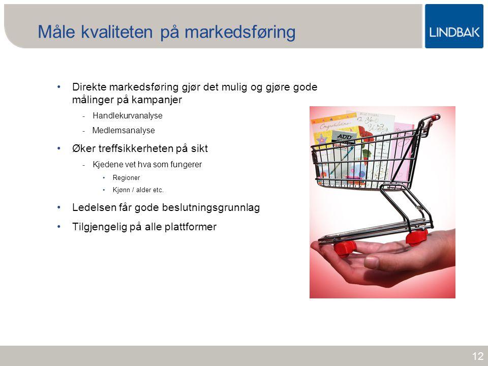 www.lindbak.no Måle kvaliteten på markedsføring •Direkte markedsføring gjør det mulig og gjøre gode målinger på kampanjer -Handlekurvanalyse -Medlemsa