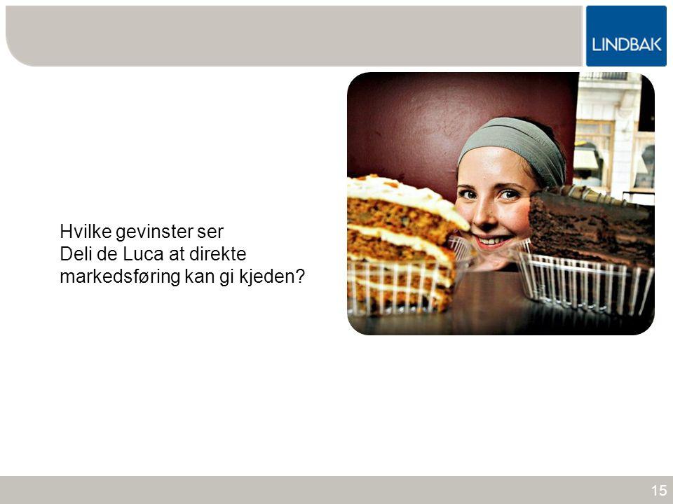 www.lindbak.no Hvilke gevinster ser Deli de Luca at direkte markedsføring kan gi kjeden? 15