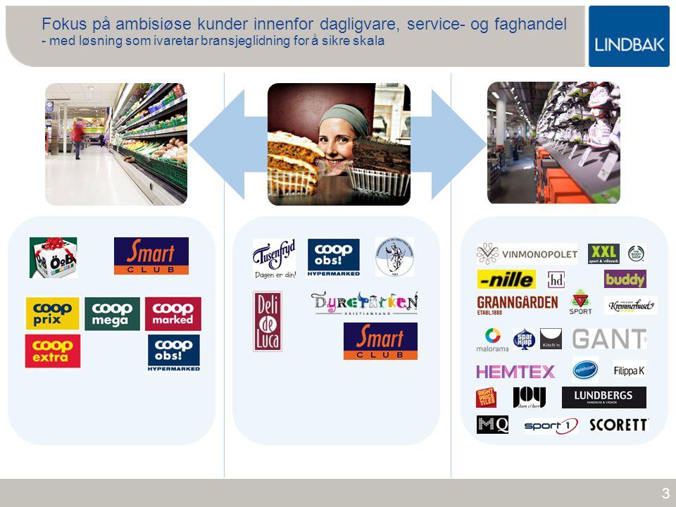 www.lindbak.no 14 Visjon: Å være den foretrukne samarbeidspartneren for ambisiøse detaljhandelskjeder Visjon og forretningside Forretningside: Lindbak leverer forretningskritiske IT løsninger for ambisiøse detaljhandelskjeder med hovedkontor i Norge og Sverige.