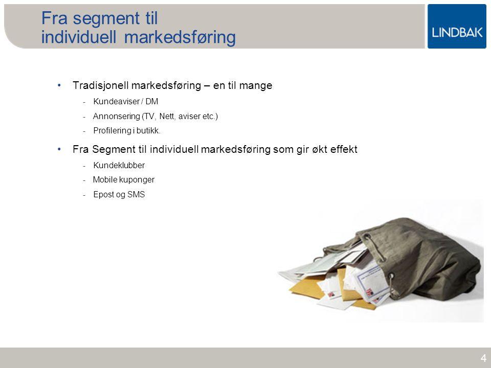 www.lindbak.no Fra segment til individuell markedsføring •Tradisjonell markedsføring – en til mange -Kundeaviser / DM -Annonsering (TV, Nett, aviser e