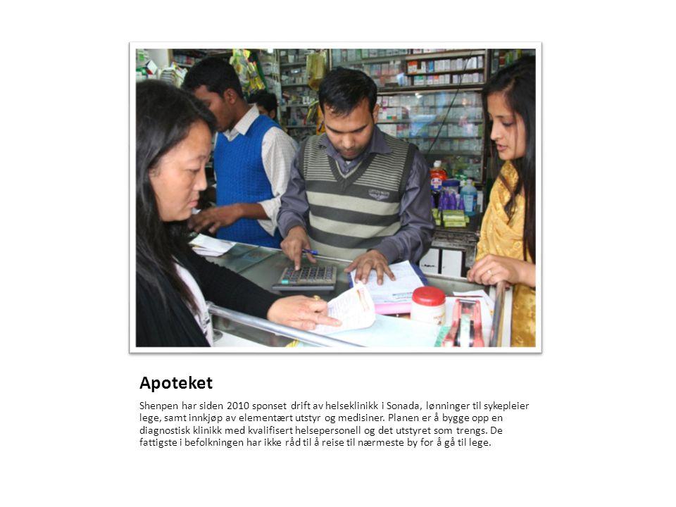 Apoteket Shenpen har siden 2010 sponset drift av helseklinikk i Sonada, lønninger til sykepleier lege, samt innkjøp av elementært utstyr og medisiner.