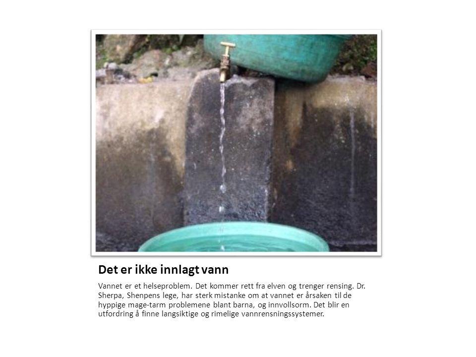 Det er ikke innlagt vann Vannet er et helseproblem. Det kommer rett fra elven og trenger rensing. Dr. Sherpa, Shenpens lege, har sterk mistanke om at