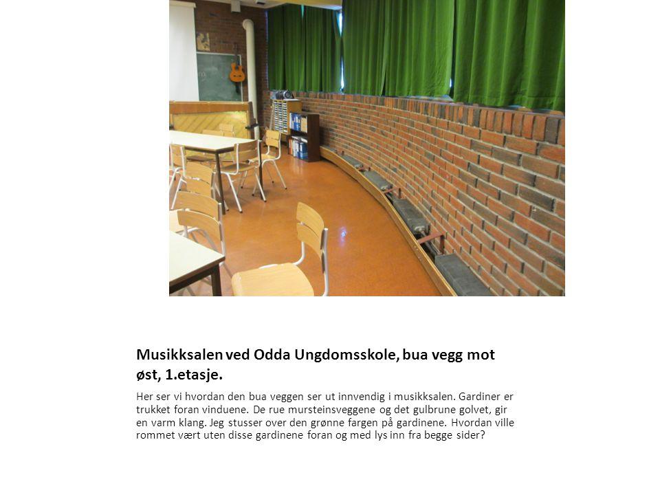 Musikksalen ved Odda Ungdomsskole, bua vegg mot øst, 1.etasje. Her ser vi hvordan den bua veggen ser ut innvendig i musikksalen. Gardiner er trukket f