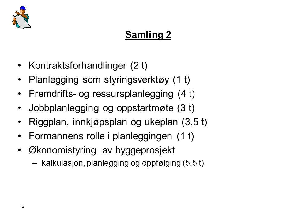 14 Samling 2 •Kontraktsforhandlinger (2 t) •Planlegging som styringsverktøy (1 t) •Fremdrifts- og ressursplanlegging (4 t) •Jobbplanlegging og oppstar