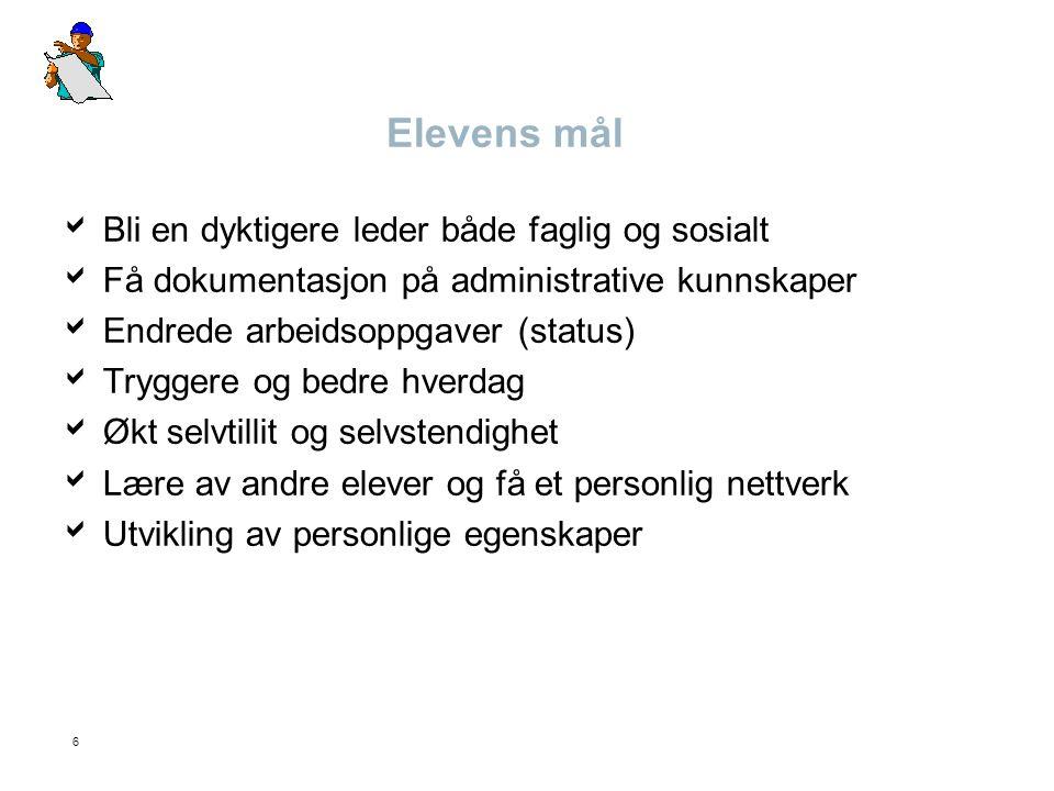 6 Elevens mål  Bli en dyktigere leder både faglig og sosialt  Få dokumentasjon på administrative kunnskaper  Endrede arbeidsoppgaver (status)  Try