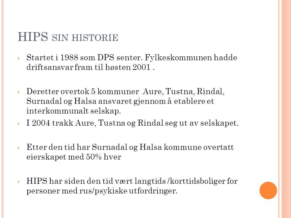 HIPS SIN HISTORIE • Startet i 1988 som DPS senter. Fylkeskommunen hadde driftsansvar fram til høsten 2001. • Deretter overtok 5 kommuner Aure, Tustna,