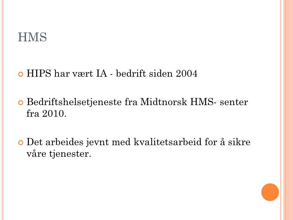 HMS HIPS har vært IA - bedrift siden 2004 Bedriftshelsetjeneste fra Midtnorsk HMS- senter fra 2010. Det arbeides jevnt med kvalitetsarbeid for å sikre