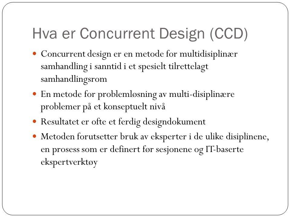 Hva er Concurrent Design (CCD)  Concurrent design er en metode for multidisiplinær samhandling i sanntid i et spesielt tilrettelagt samhandlingsrom  En metode for problemløsning av multi-disiplinære problemer på et konseptuelt nivå  Resultatet er ofte et ferdig designdokument  Metoden forutsetter bruk av eksperter i de ulike disiplinene, en prosess som er definert før sesjonene og IT-baserte ekspertverktøy
