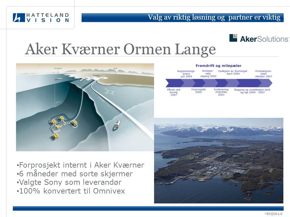 Aker Kværner Ormen Lange • Forprosjekt internt i Aker Kværner • 6 måneder med sorte skjermer • Valgte Sony som leverandør • 100% konvertert til Omnive