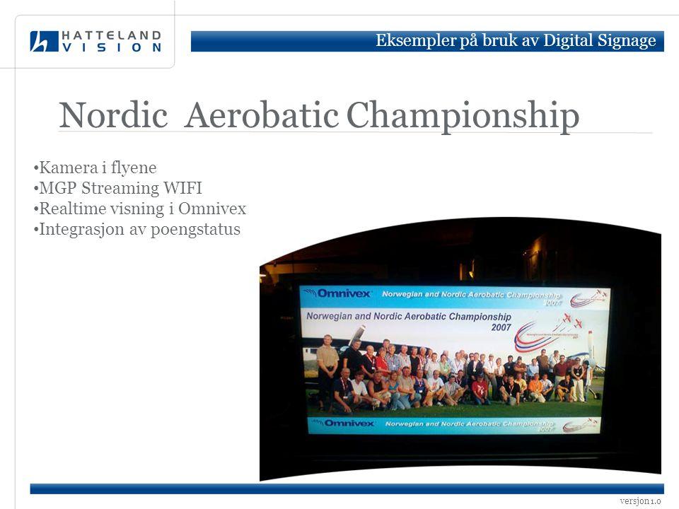 versjon 1.0 Nordic Aerobatic Championship • Kamera i flyene • MGP Streaming WIFI • Realtime visning i Omnivex • Integrasjon av poengstatus Eksempler p