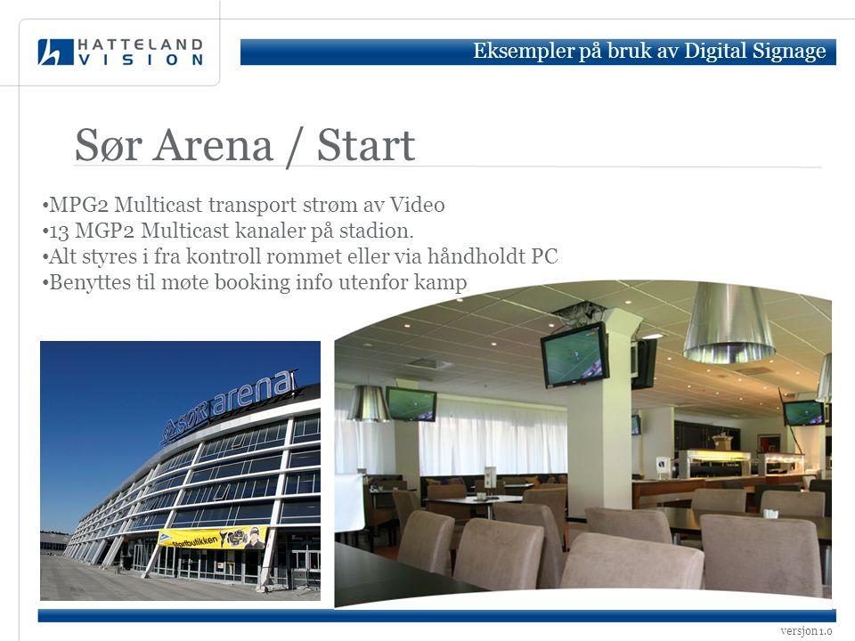 versjon 1.0 Sør Arena / Start • MPG2 Multicast transport strøm av Video • 13 MGP2 Multicast kanaler på stadion. • Alt styres i fra kontroll rommet ell