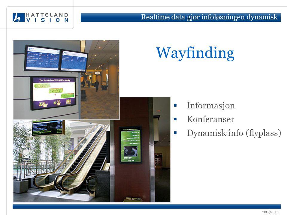 versjon 1.0 Wayfinding  Informasjon  Konferanser  Dynamisk info (flyplass) Realtime data gjør infoløsningen dynamisk