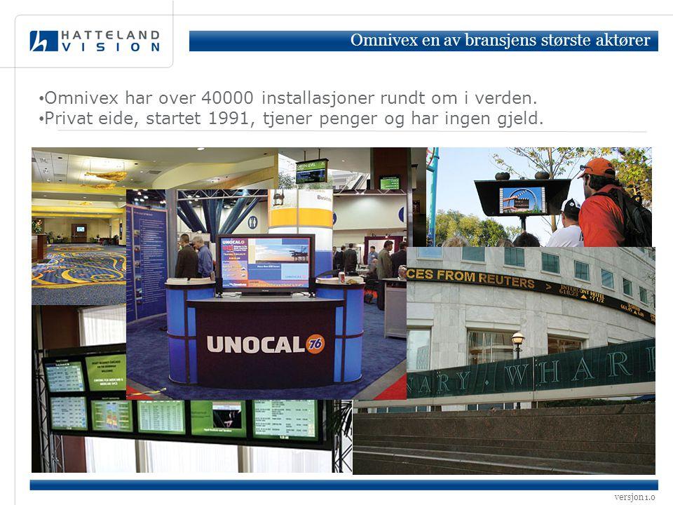 versjon 1.0 • Omnivex har over 40000 installasjoner rundt om i verden. • Privat eide, startet 1991, tjener penger og har ingen gjeld. Omnivex en av br