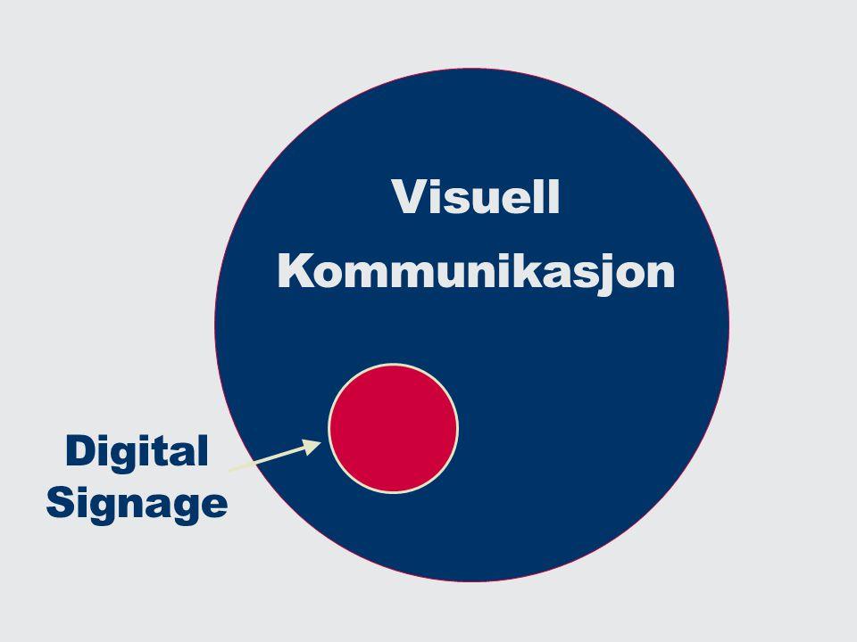 versjon 1.0 Visuelt Skalerbarhet Dynamikk Funksjoner Integrasjon ROI Hva er Digital Signage 24 / 7 DS er så mye mer en bare det du ser!