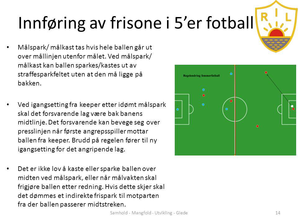 Innføring av frisone i 5'er fotball • Målspark/ målkast tas hvis hele ballen går ut over mållinjen utenfor målet.