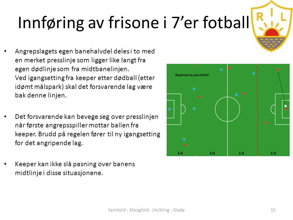 Innføring av frisone i 7'er fotball • Angrepslagets egen banehalvdel deles i to med en merket presslinje som ligger like langt fra egen dødlinje som fra midtbanelinjen.