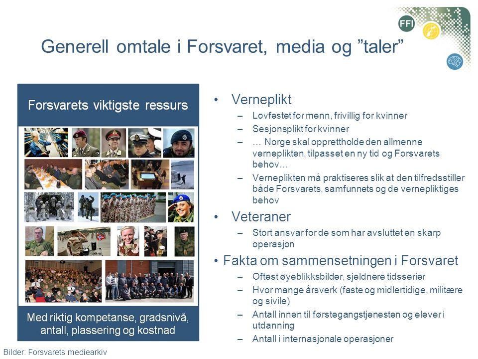 """Generell omtale i Forsvaret, media og """"taler"""" •Verneplikt –Lovfestet for menn, frivillig for kvinner –Sesjonsplikt for kvinner –… Norge skal opprettho"""