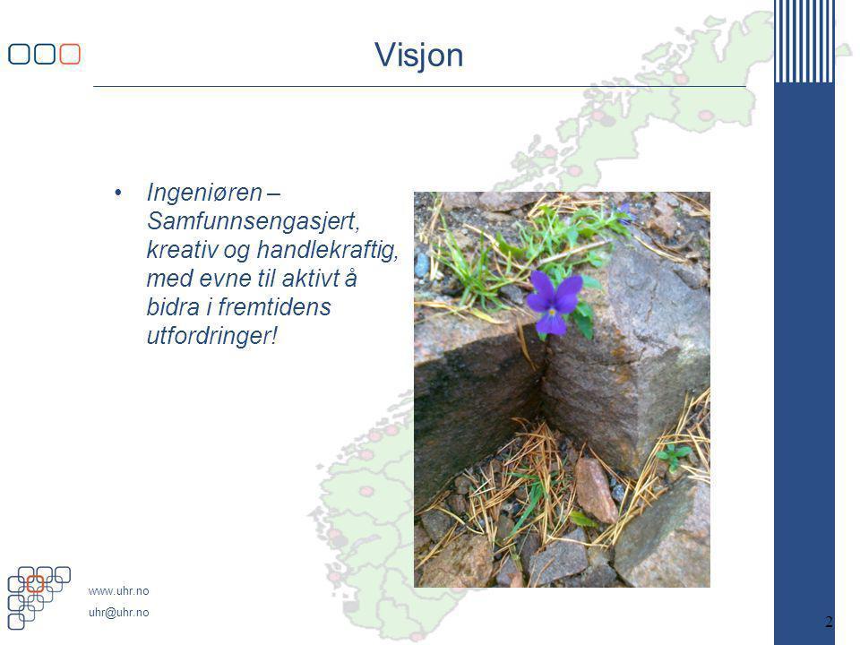 www.uhr.no uhr@uhr.no Visjon •Ingeniøren – Samfunnsengasjert, kreativ og handlekraftig, med evne til aktivt å bidra i fremtidens utfordringer.