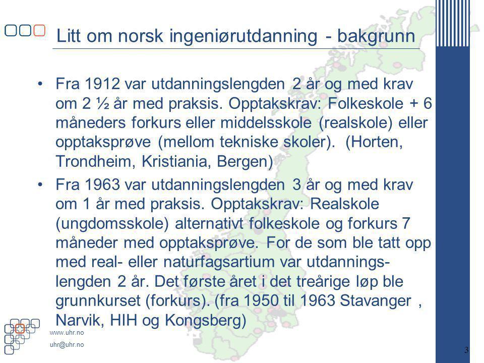 www.uhr.no uhr@uhr.no Litt om norsk ingeniørutdanning - bakgrunn •Fra 1912 var utdanningslengden 2 år og med krav om 2 ½ år med praksis.
