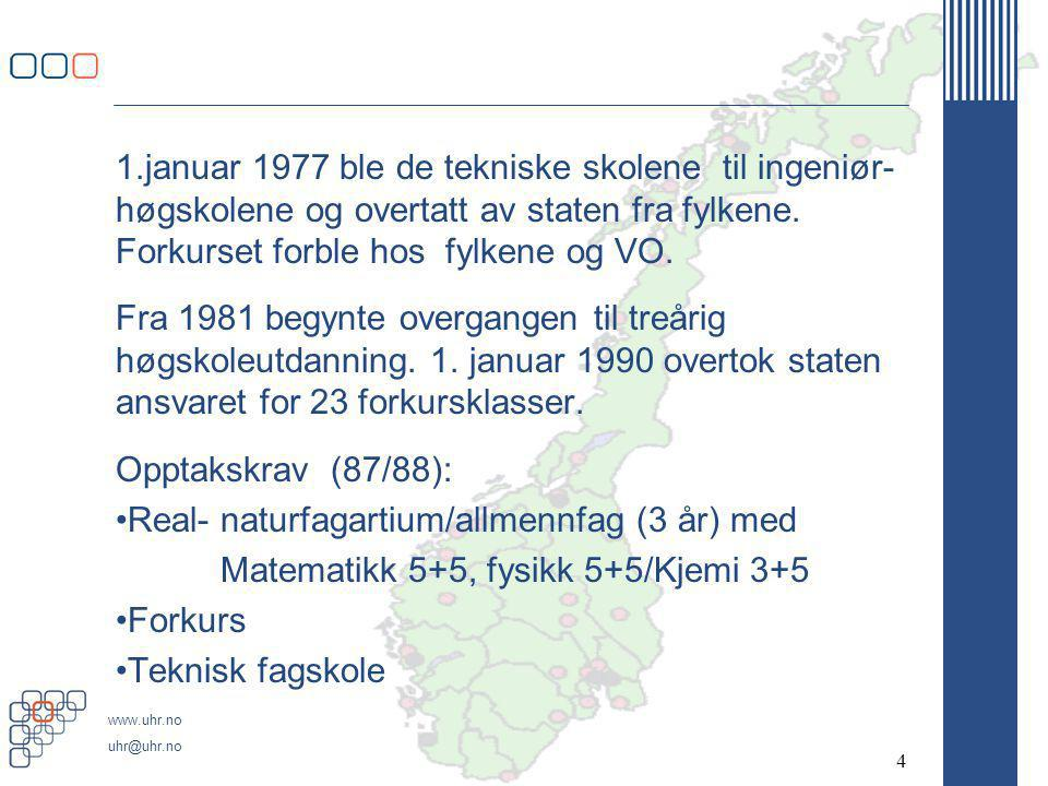 www.uhr.no uhr@uhr.no 1.januar 1977 ble de tekniske skolene til ingeniør- høgskolene og overtatt av staten fra fylkene.