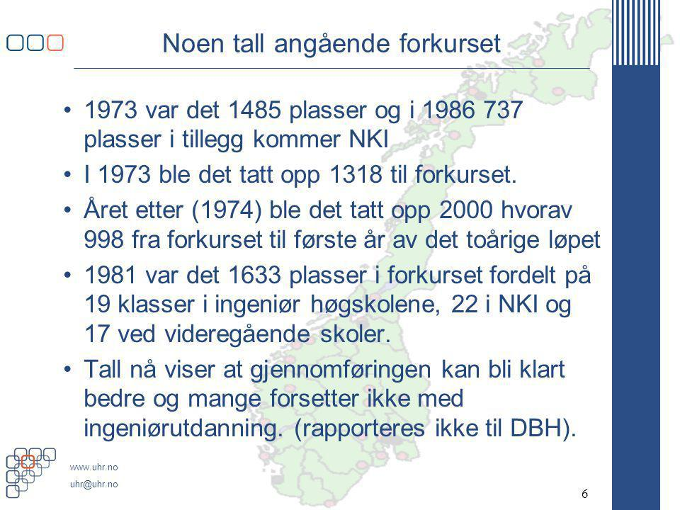 www.uhr.no uhr@uhr.no Noen tall angående forkurset •1973 var det 1485 plasser og i 1986 737 plasser i tillegg kommer NKI •I 1973 ble det tatt opp 1318 til forkurset.