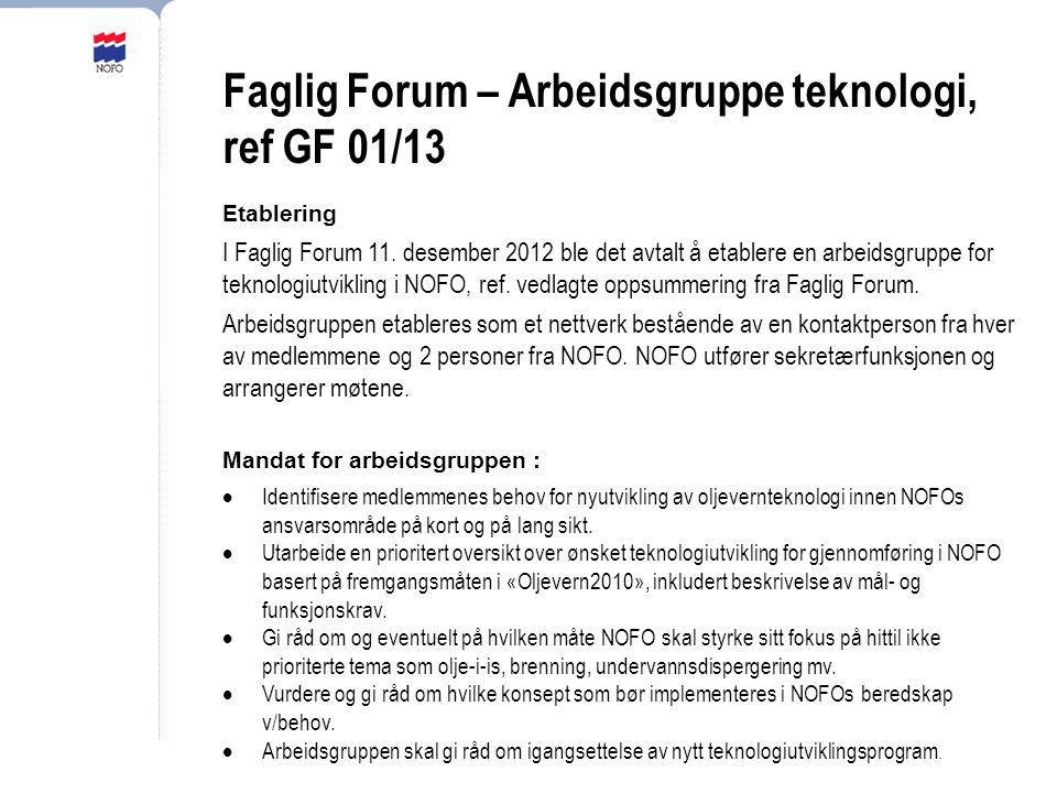 Faglig Forum – Arbeidsgruppe teknologi, ref GF 01/13 Etablering I Faglig Forum 11.