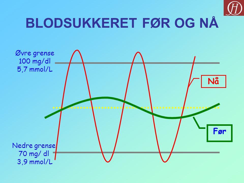 Øvre grense 100 mg/dl 5,7 mmol/L Nedre grense 70 mg/ dl 3,9 mmol/L Nå Før BLODSUKKERET FØR OG NÅ