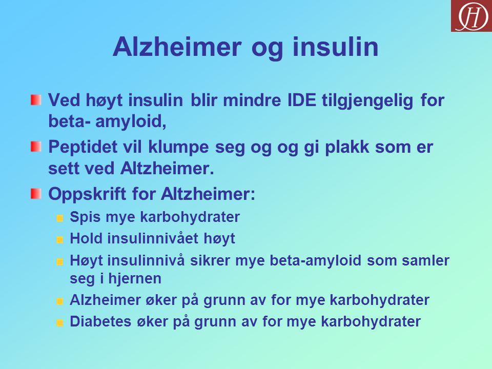 Alzheimer og insulin Ved høyt insulin blir mindre IDE tilgjengelig for beta- amyloid, Peptidet vil klumpe seg og og gi plakk som er sett ved Altzheimer.