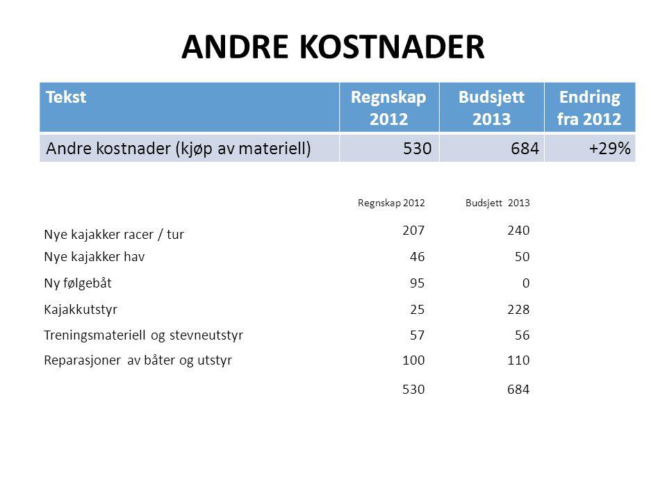ANDRE KOSTNADER TekstRegnskap 2012 Budsjett 2013 Endring fra 2012 Andre kostnader (kjøp av materiell)530 684+29% Regnskap 2012Budsjett 2013 Nye kajakk