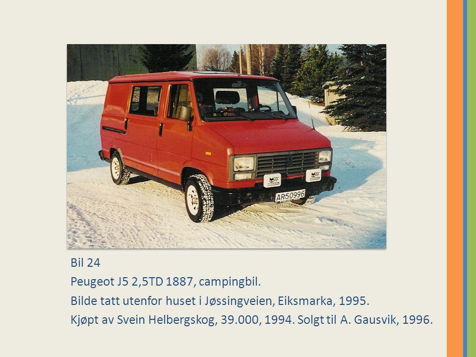 Bil 24 Peugeot J5 2,5TD 1887, campingbil.Bilde tatt utenfor huset i Jøssingveien, Eiksmarka, 1995.