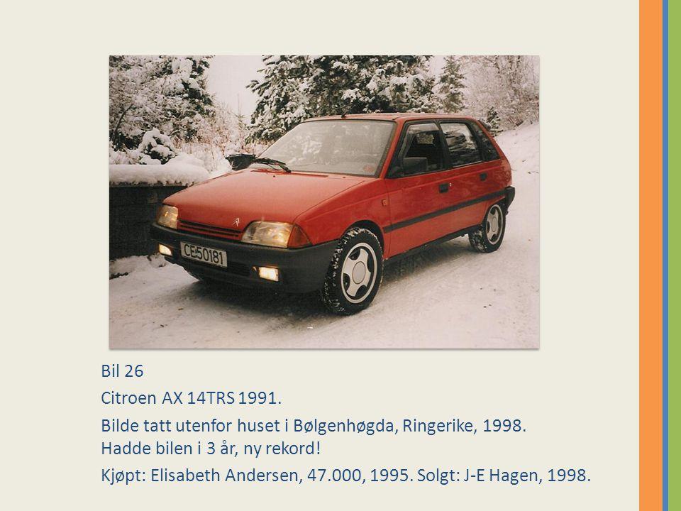 Bil 26 Citroen AX 14TRS 1991.Bilde tatt utenfor huset i Bølgenhøgda, Ringerike, 1998.