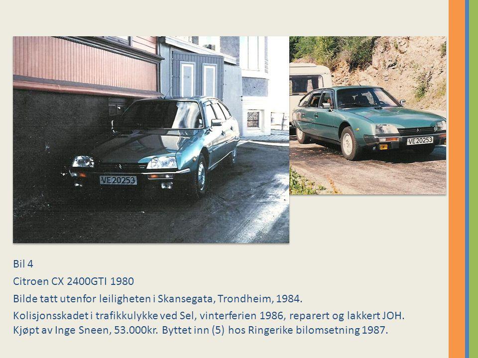 Bil 4 Citroen CX 2400GTI 1980 Bilde tatt utenfor leiligheten i Skansegata, Trondheim, 1984.