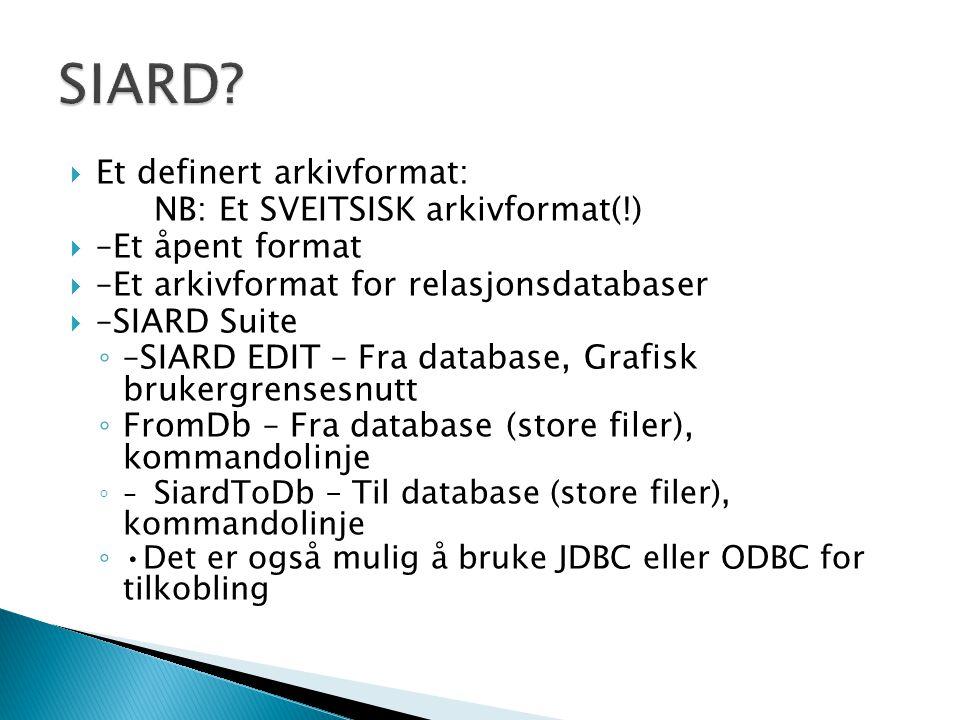  Et definert arkivformat: NB: Et SVEITSISK arkivformat(!)  –Et åpent format  –Et arkivformat for relasjonsdatabaser  –SIARD Suite ◦ –SIARD EDIT –