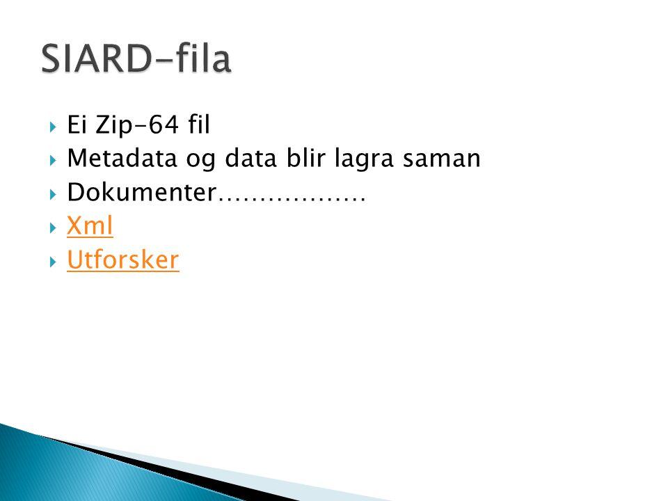  Ei Zip-64 fil  Metadata og data blir lagra saman  Dokumenter………………  Xml Xml  Utforsker Utforsker