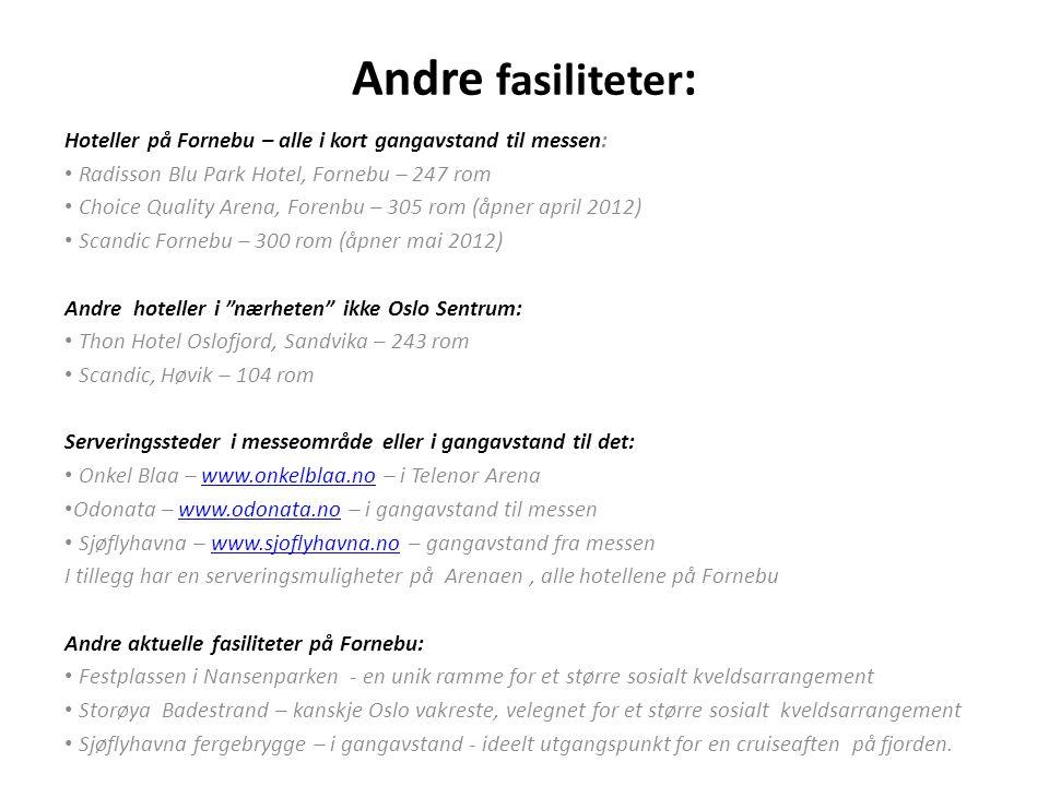 Andre fasiliteter : Hoteller på Fornebu – alle i kort gangavstand til messen: • Radisson Blu Park Hotel, Fornebu – 247 rom • Choice Quality Arena, For