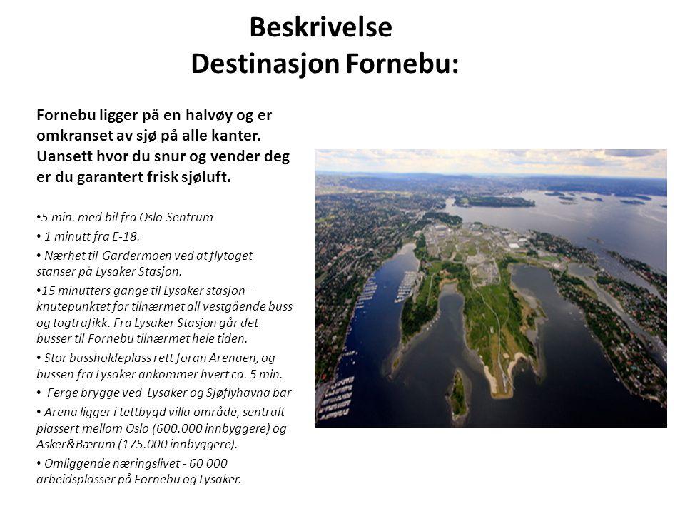 Beskrivelse Destinasjon Fornebu: Fornebu ligger på en halvøy og er omkranset av sjø på alle kanter. Uansett hvor du snur og vender deg er du garantert