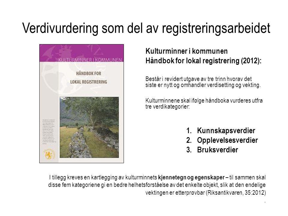 Kulturminner i kommunen Håndbok for lokal registrering (2012): Består i revidert utgave av tre trinn hvorav det siste er nytt og omhandler verdisetting og vekting.