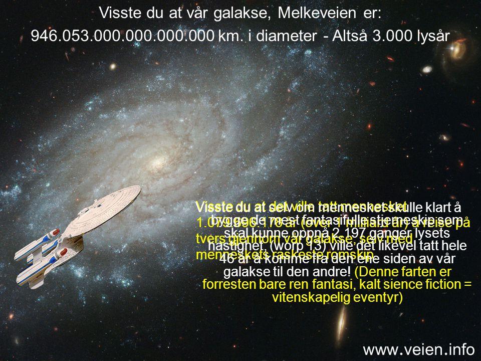 Avstanden til den nærmeste stjernen Proxima er 40.112.647.200.000 km. Med menneskets raskeste rakett ville det tatt 45.791 år å reise til denne stjern