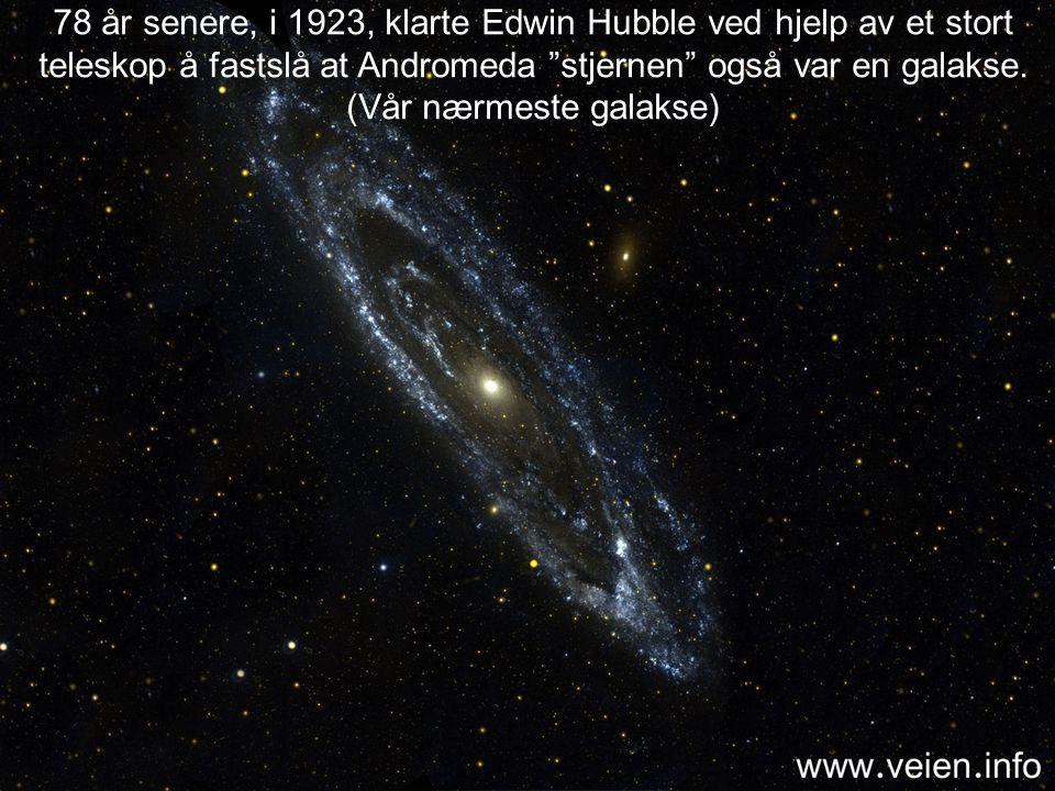 """…..så, i 1845 oppdaget William Parsons ved hjelp av et teleskop at stjernene """"våre"""" er en del av en slags spiral struktur og dermed var en galakse."""