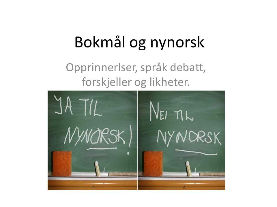 Bokmål og nynorsk Opprinnerlser, språk debatt, forskjeller og likheter.