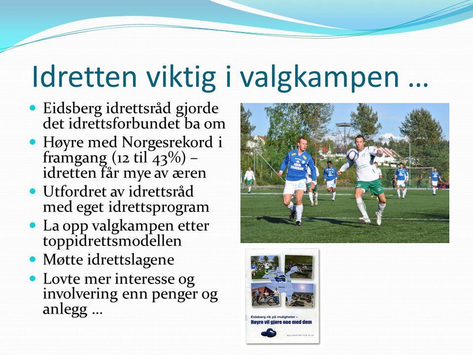Idretten viktig i valgkampen …  Eidsberg idrettsråd gjorde det idrettsforbundet ba om  Høyre med Norgesrekord i framgang (12 til 43%) – idretten får