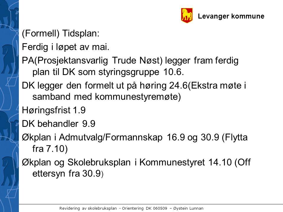 Levanger kommune Revidering av skolebruksplan - Orientering DK 060509 – Øystein Lunnan (Formell) Tidsplan: Ferdig i løpet av mai. PA(Prosjektansvarlig