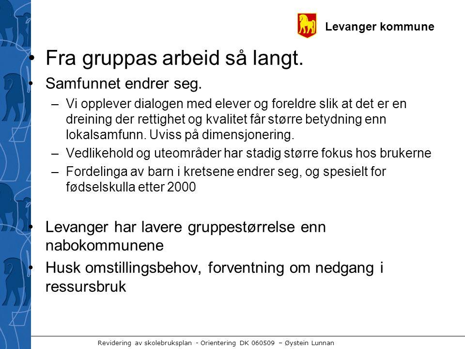 Levanger kommune Revidering av skolebruksplan - Orientering DK 060509 – Øystein Lunnan •Fra gruppas arbeid så langt.