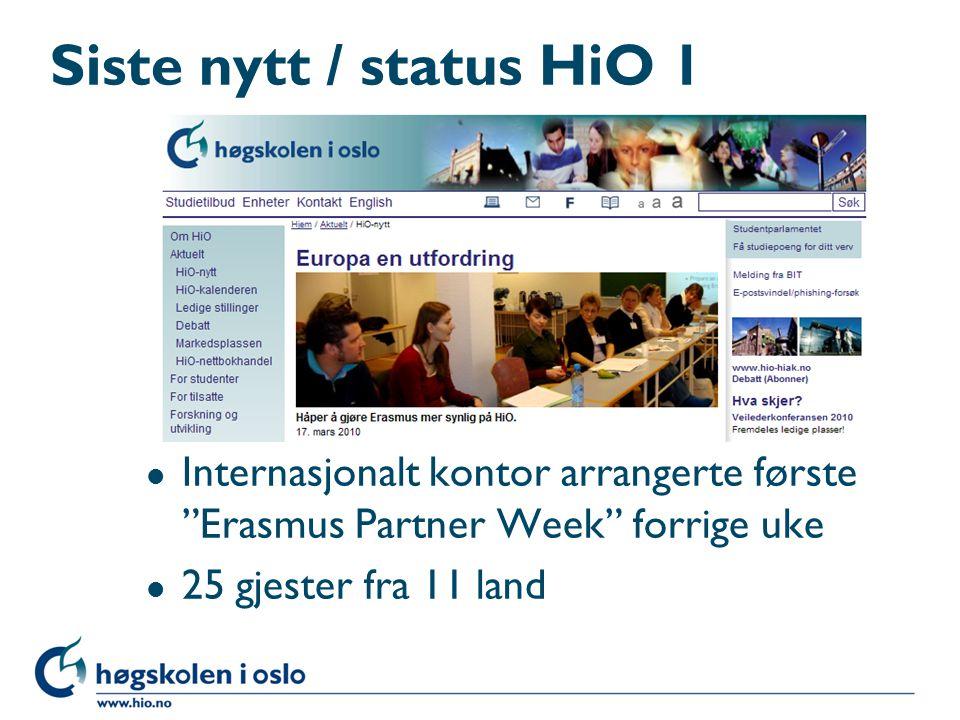 """Siste nytt / status HiO 1 l Internasjonalt kontor arrangerte første """"Erasmus Partner Week"""" forrige uke l 25 gjester fra 11 land"""
