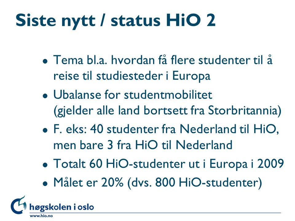 Siste nytt / status HiO 2 l Tema bl.a. hvordan få flere studenter til å reise til studiesteder i Europa l Ubalanse for studentmobilitet (gjelder alle