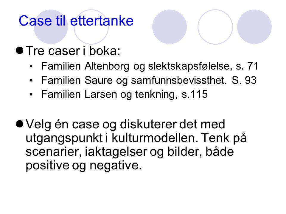 Case til ettertanke  Tre caser i boka: • Familien Altenborg og slektskapsfølelse, s.