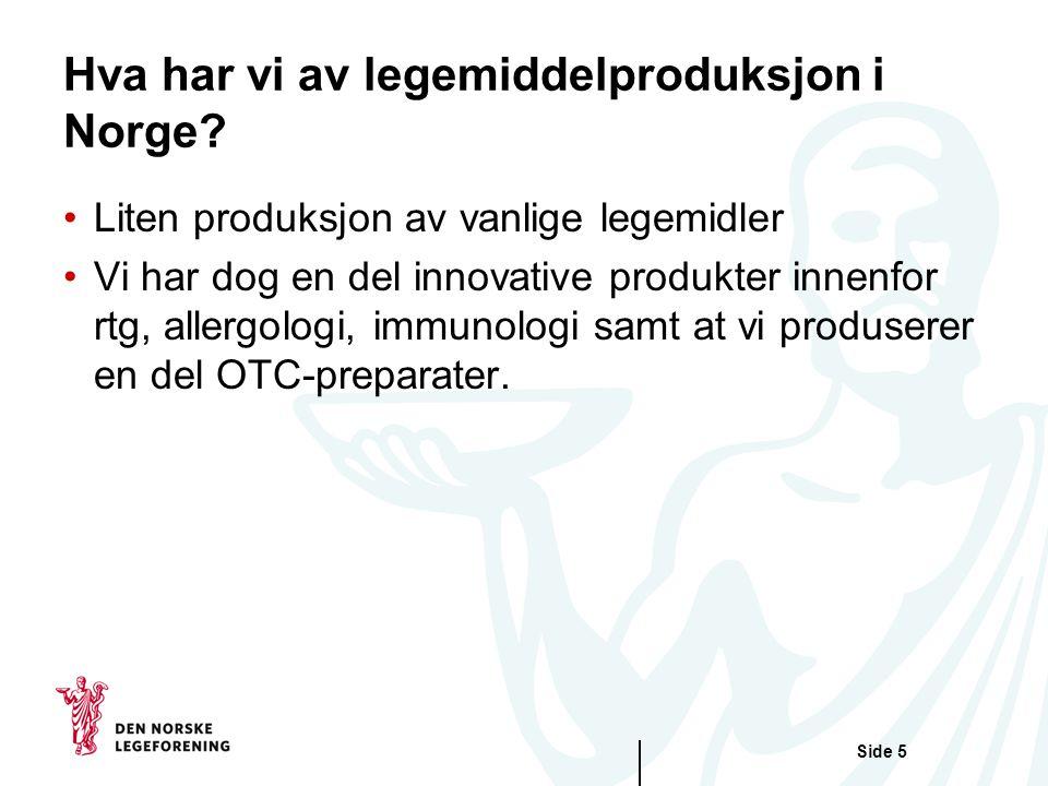 Side 5 Hva har vi av legemiddelproduksjon i Norge.