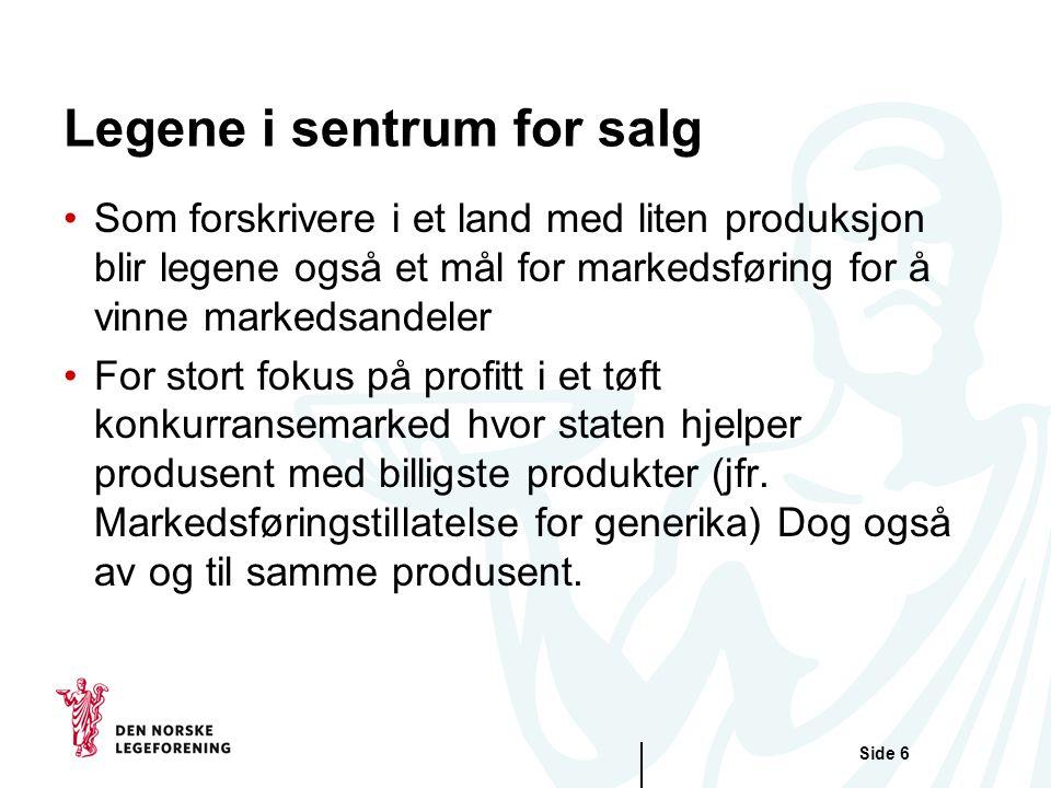 Side 6 Legene i sentrum for salg •Som forskrivere i et land med liten produksjon blir legene også et mål for markedsføring for å vinne markedsandeler •For stort fokus på profitt i et tøft konkurransemarked hvor staten hjelper produsent med billigste produkter (jfr.